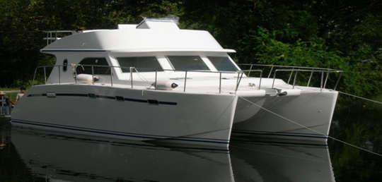 Bruce Roberts Fiberglass Trawler Cats Steel Trawlers Boacatamaran