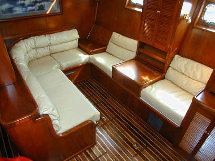 Boat Interior Design Ideas the folks on rebel heart used their sewing machine and combined complementary patterns to create this Sailboat Interior Design Ideas Boat Interiors Bruce Roberts